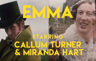 Callum Turner and Miranda Hart in Emma