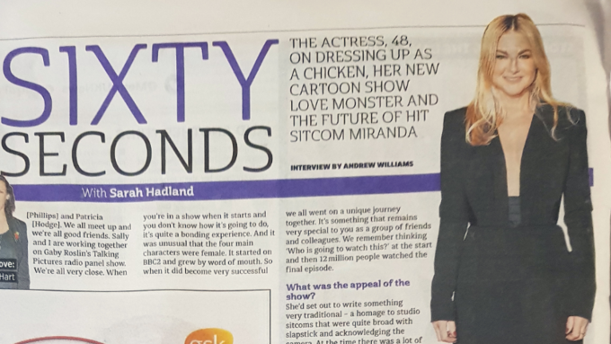 Sarah Hadland in 60 Second Metro Interview